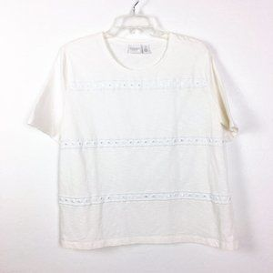 Chico's White Embroidery Top